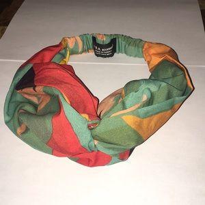 Zara colorful silk scarf knot headband
